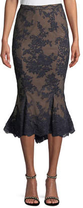 Marchesa Lace Fit-and-Flare Pencil Skirt w/ Scallop Hem