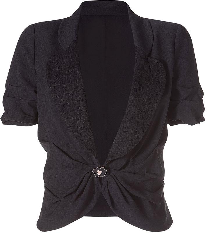 Ungaro Black Short Sleeve Draped Jacket