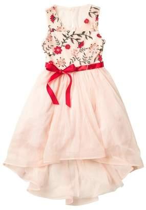 My Michelle mymichelle Embroidered Flower Top Dress (Big Girls)