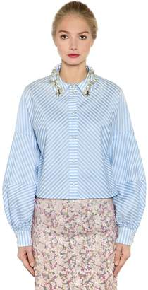 Antonio Marras Embellished Striped Cropped Cotton Shirt