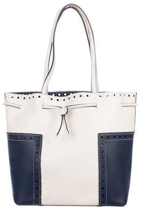 Tory Burch Block-T Brogue Leather Tote
