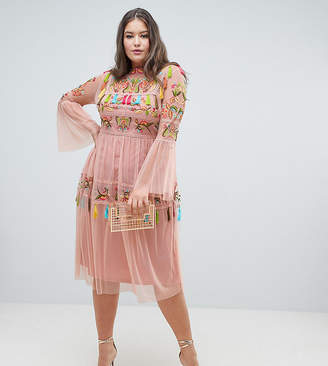 Frock And Frill Plus Folk Embroidered Tassel Skater Dress