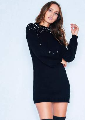 7a8e0fead3d Missy Empire Missyempire Lucie Black Pearl Puff Sleeve Jumper Dress