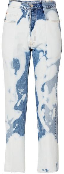 E.L.V. Denim - The Twin Bleached High-rise Straight-leg Jeans - Mid denim