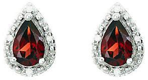 QVC Sterling Pear-Shaped Gemstone Stud Earrings w/Diamond Accent