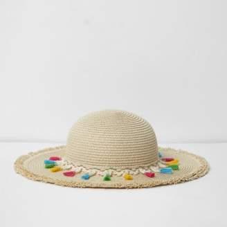 River Island Girls beige tassel trim beach hat