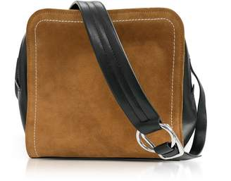 3.1 Phillip Lim Black Leather And Cinnamon Suede Hudson Square Crossbody Bag