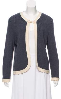 Oscar de la Renta Rib Knit Long Sleeve Cardigan