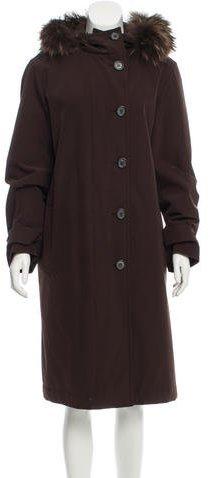 pradaPrada Fur-Trimmed Padded Coat