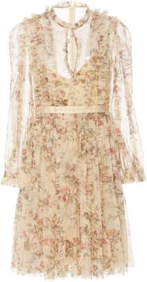 Needle & Thread Garland Flora Printed Tulle Mini Dress