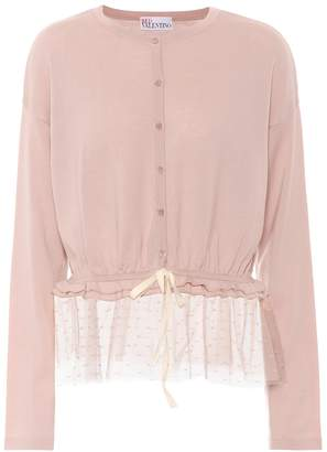 RED Valentino Tulle-trimmed wool cardigan