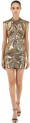 MSGM P.m. Holographic Faux Suede Mini Dress