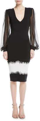 Sachin + Babi Mosaic V-Neck Silk-Sleeve Cocktail Dress