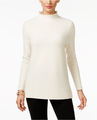 Charter Club Cashmere Ribbed Mock-Neck Sweater, Only at Macy's $169 thestylecure.com