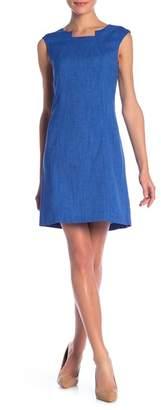 Tahari Textured Cap Sleeve Sheath Dress