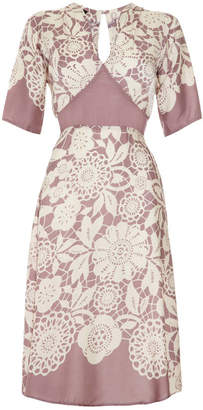 Sweet Pea Nancy Mac Tea Dress In Lace Stencil Print Crepe