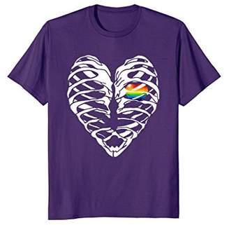 Mens Vintage Distressed Graphic Ribcage Heart LGBT Pride TShirt 3XL