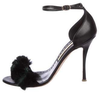 Rupert Sanderson Fur-Trimmed Mikie Sandals