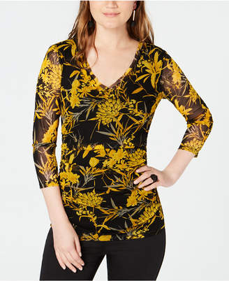 INC International Concepts I.N.C. Floral-Print V-Neck Top, Created for Macy's