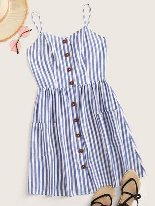 Shein Button Front Patch Pocket Striped Slip Dress