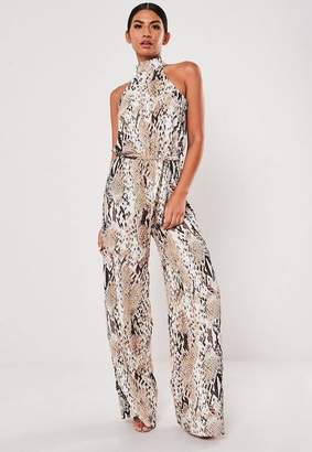 Missguided Brown Snake Print High Neck Romper