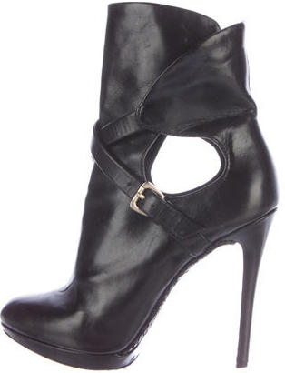 B Brian Atwood Leather Round-Toe Ankle Boots $125 thestylecure.com