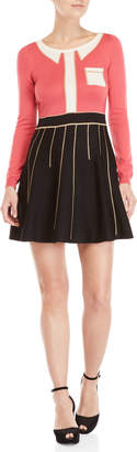 Moschino Shirt Print Long Sleeve Fit & Flare Wool Sweater Dress