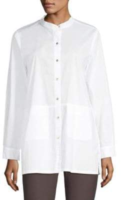 Eileen Fisher Stretch Lawn Stand Collar Button-Down Shirt