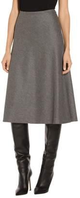 St. John Melange Flannel Jersey Flared Skirt