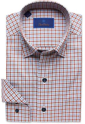 David Donahue Men's Check Dress Shirt with Hidden-Button Collar