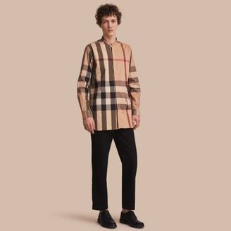 Burberry Grandad Collar Check Cotton Blend Shirt $295 thestylecure.com
