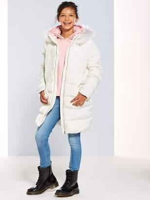 Very Girls Longline Padded Coat - White