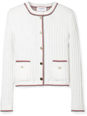 Thom Browne Cable-knit Wool Cardigan - White