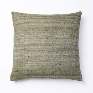 west elm Woven Silk Pillow Cover - Olive