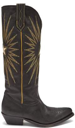 Golden Goose Wish Star Embroidered Leather Boots - Womens - Black
