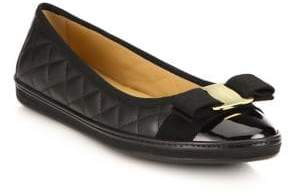 Salvatore Ferragamo Rufina Quilted Cap Toe Leather Ballet Sneakers