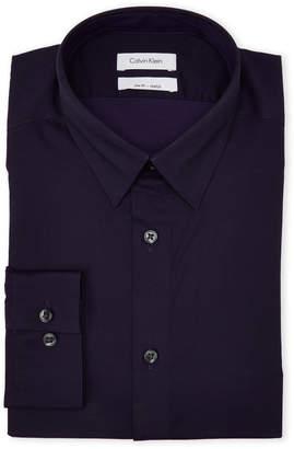 Calvin Klein Deep Plum Slim Fit Stretch Dress Shirt
