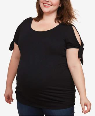 Motherhood Maternity Plus Size Cold-Shoulder T-Shirt