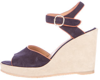 A.P.C. Suede Wedge Sandals $75 thestylecure.com