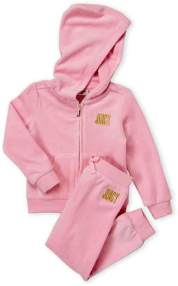 Juicy Couture Toddler Girls) Two-Piece Pink Choose Juicy Velour Hoodie & Joggers Set