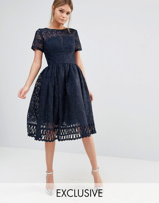 Chi Chi London Premium Lace Dress with Cutwork Detail and Cap Sleeve $111 thestylecure.com