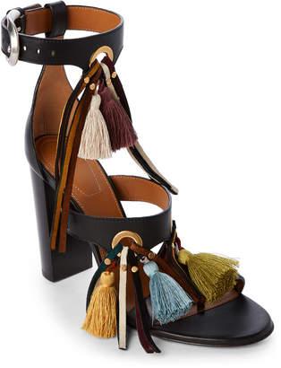 Chloé Black Miki Tasseled Block Heel Sandals