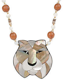 "Lee Sands Tiger Inlay Pendant on 20"" Bead & She"