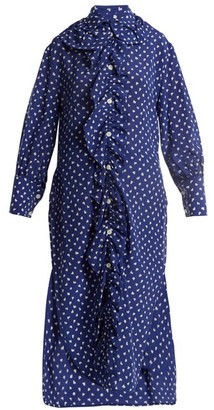 Marni Ruffled Placket Fleck Print Silk Shirtdress - Womens - Blue White