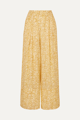 Faithfull The Brand Opal Cropped Snake-print Crepe Wide-leg Pants - Pastel yellow