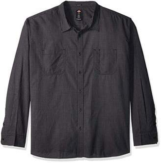 Dickies Men's Big and Tall Long Sleeve Relaxed Fit Yarn Dye Plaid Shirt