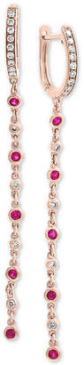 Effy Certified Ruby (1/2 ct. t.w.) and Diamond (1/4 ct. t.w.) Drop Earrings in 14k Rose Gold