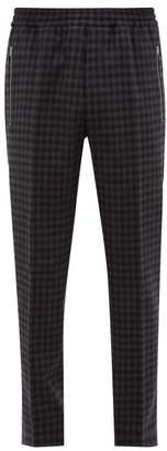 Stella McCartney Piet Checked Wool Blend Twill Trousers - Mens - Grey Multi