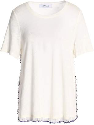 Derek Lam 10 Crosby ビーズ&フリンジ付き スラブリネンジャージー Tシャツ