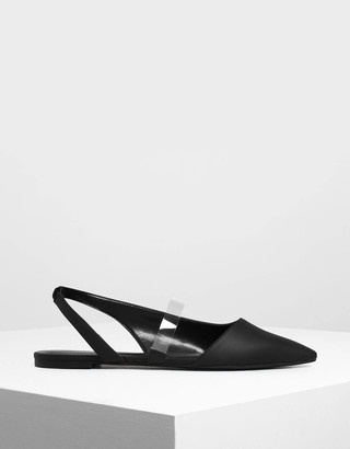 Charles & Keith Clear Strap Slingback Flats